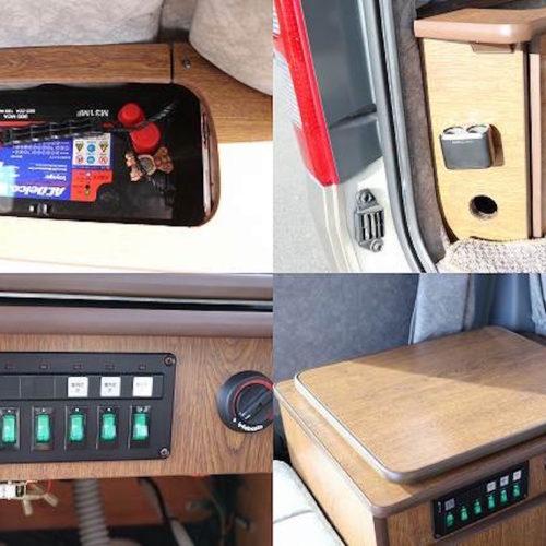 サブバッテリー・FFヒーター・充電ソケット・各電源スイッチになります。